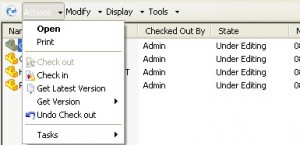 SolidWorks Enterprise PDM pulldown menus