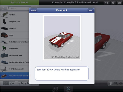 Sending model to Facebook from 3DVIA Mobile HD