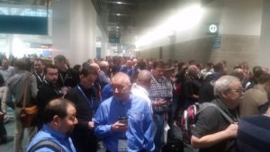Lining up on the first day for the General Session of SOLIDWORKS World 2017 sww17